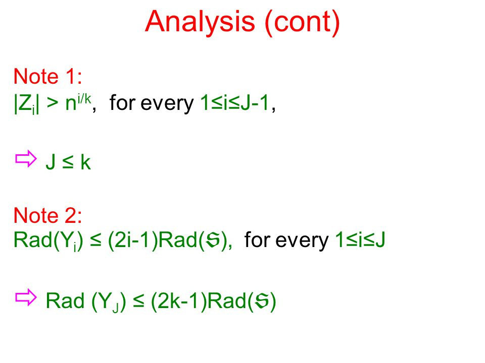 Analysis (cont) Note 1: |Z i | > n i/k, for every 1≤i≤J-1,  J ≤ k Note 2: Rad(Y i ) ≤ (2i-1)Rad(  ), for every 1≤i≤J  Rad (Y J ) ≤ (2k-1)Rad(  )
