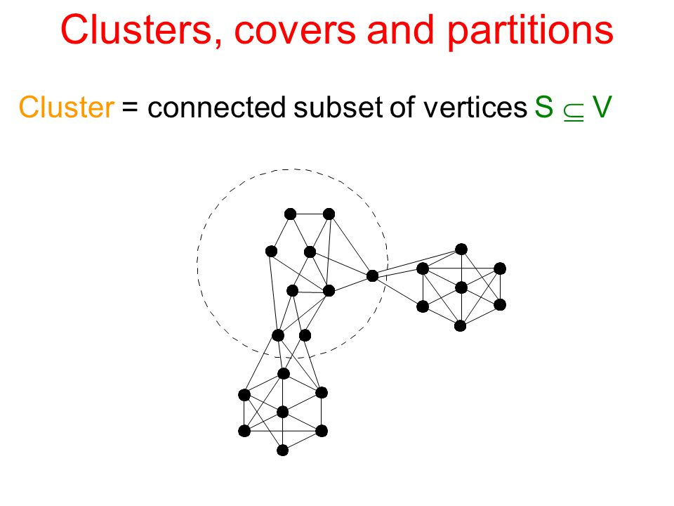 Clusters, covers and partitions Cover of G(V,E, w ) = collection of clusters  ={S 1,...,S m } containing all vertices of G (i.e., s.t.