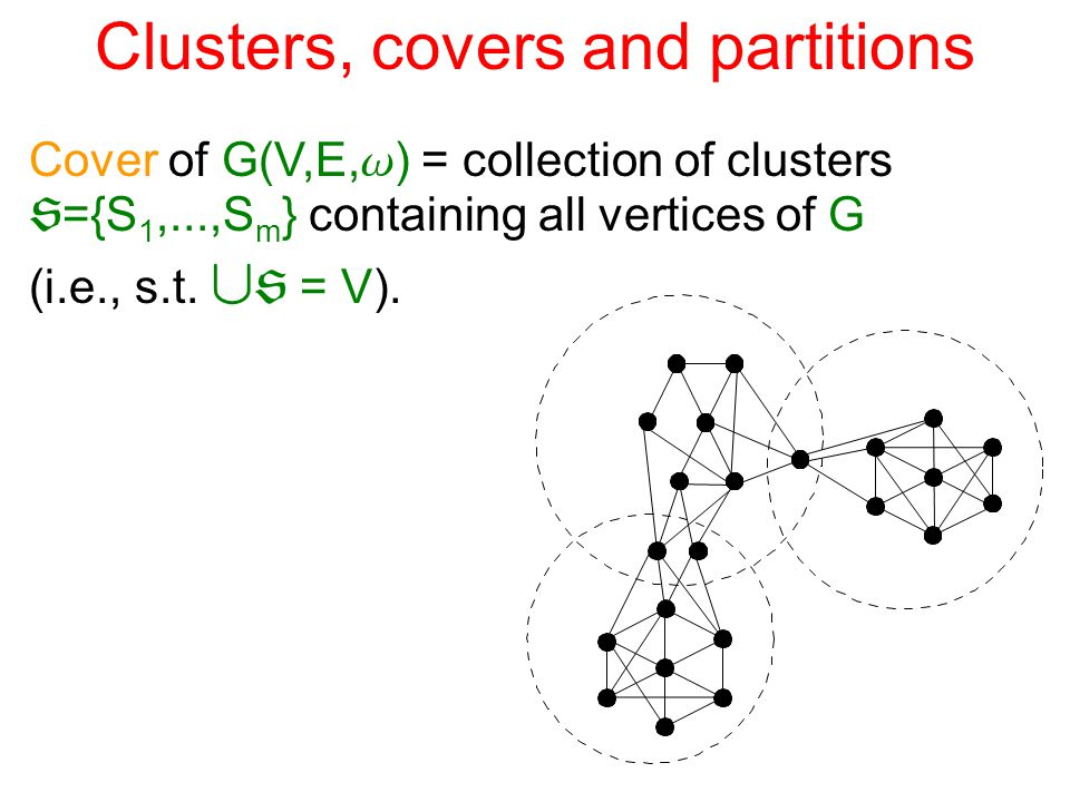 Partitions Partial partition of G = collection of disjoint clusters  ={S 1,...,S m }, i.e., s.t.