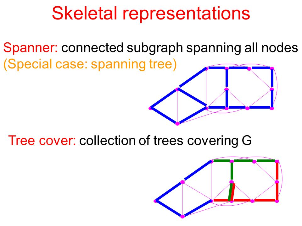 Skeletal representations Spanner: connected subgraph spanning all nodes (Special case: spanning tree) Tree cover: collection of trees covering G