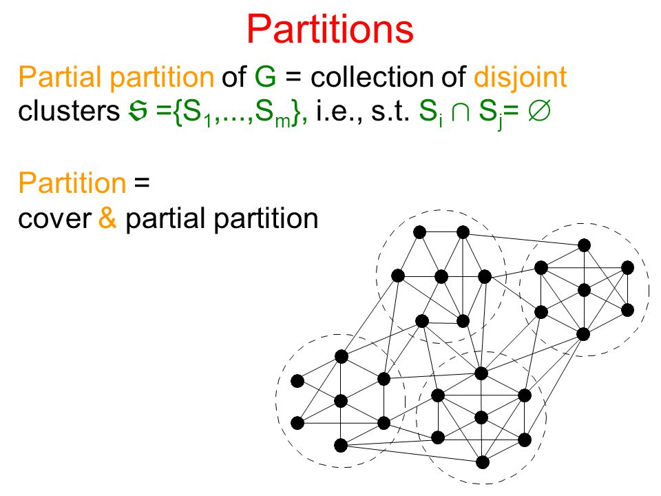 Evaluation criteria Locality and Sparsity Locality level: cluster radius Sparsity level: vertex / cluster degrees