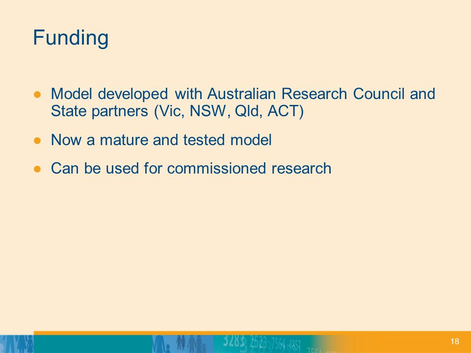 18 Funding ●Model developed with Australian Research Council and State partners (Vic, NSW, Qld, ACT) ●Now a mature and tested model ●Can be used for commissioned research