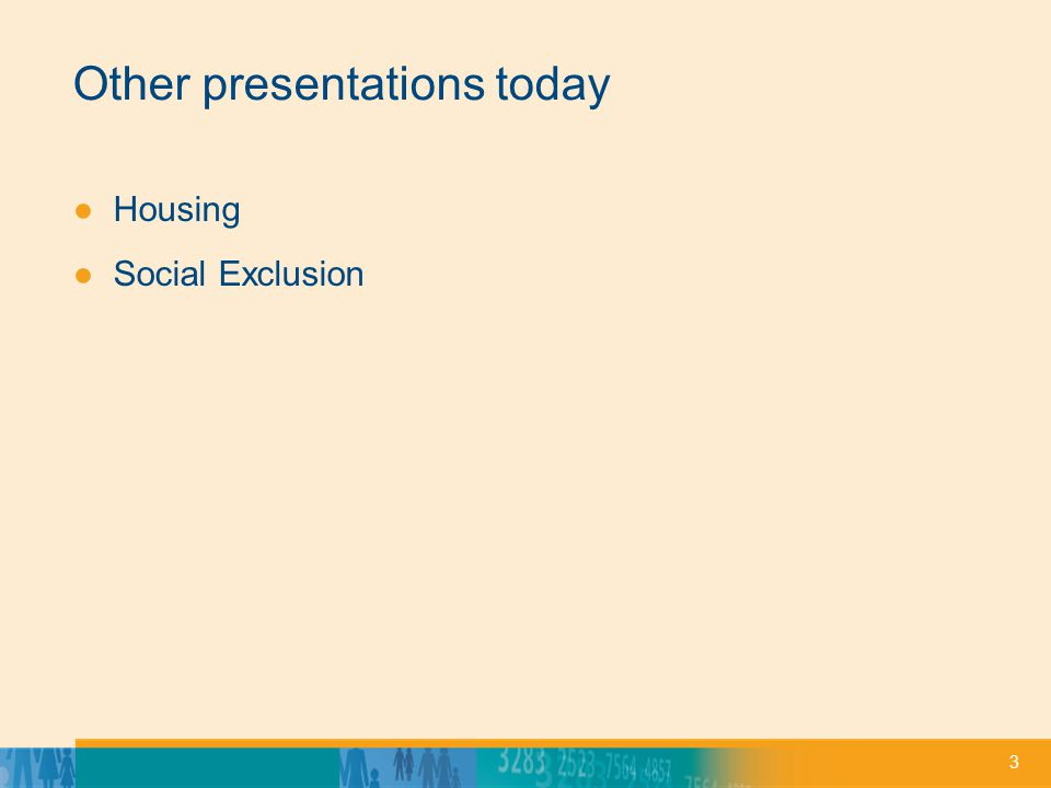 3 Other presentations today ●Housing ●Social Exclusion