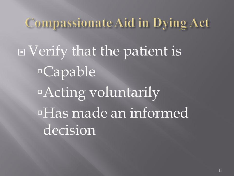  Verify that the patient is  Capable  Acting voluntarily  Has made an informed decision 15