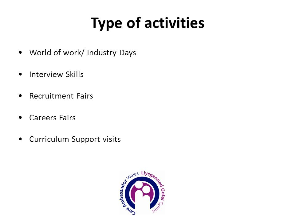 World of work/ Industry Days Interview Skills Recruitment Fairs Careers Fairs Curriculum Support visits Type of activities