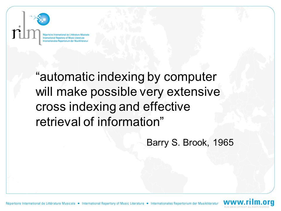 automatic indexing by computer will make possible very extensive cross indexing and effective retrieval of information Barry S.