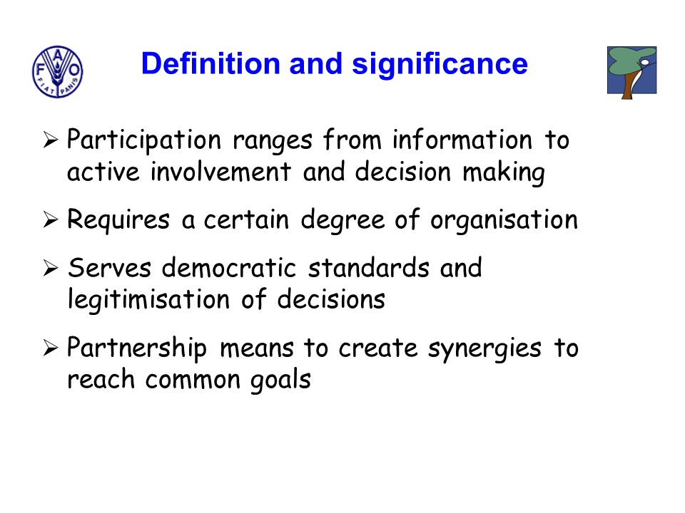  Participation ranges from information to active involvement and decision making  Requires a certain degree of organisation  Serves democratic standards and legitimisation of decisions  Partnership means to create synergies to reach common goals Definition and significance