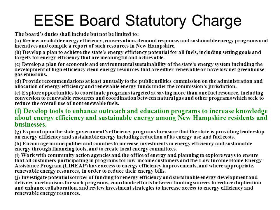 EESE Work Plan The EESE Board recommends, and will help coordinate and advance, an integrated, comprehensive public education campaign on energy efficiency and renewable energy.