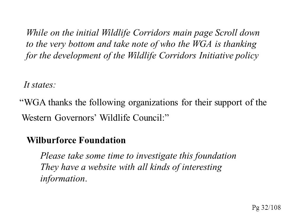 The Initiative should be reviewed in detail. The report is a pdf, so FIRST go to http://www.westgov.org/initiatives/wildlife when you get to the link,