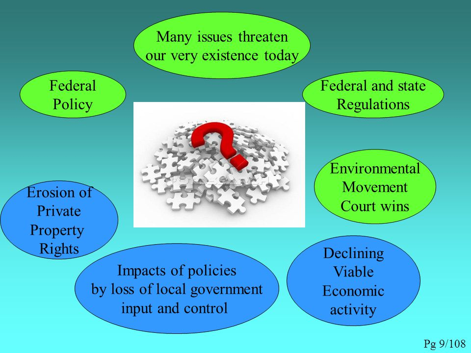 Many issues threaten our very existence today Federal Policy Federal and state Regulations Environmental Movement Court wins Resulting in Erosion of Private Property Rights Impacts of policies by loss of local government input and control Declining Viable Economic activity Pg 9/108