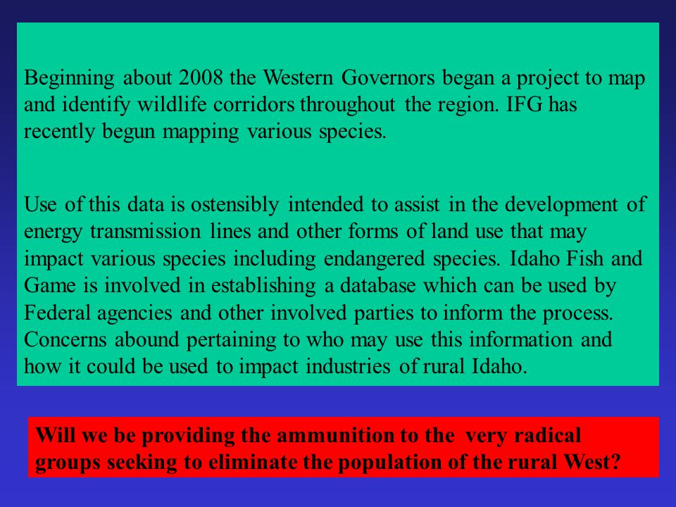 Implementation of the policy in Idaho began with a resolution in 2007 It dribbled here and there Pika Lynx Cuckoo Caribou Grizzly The flood gates have
