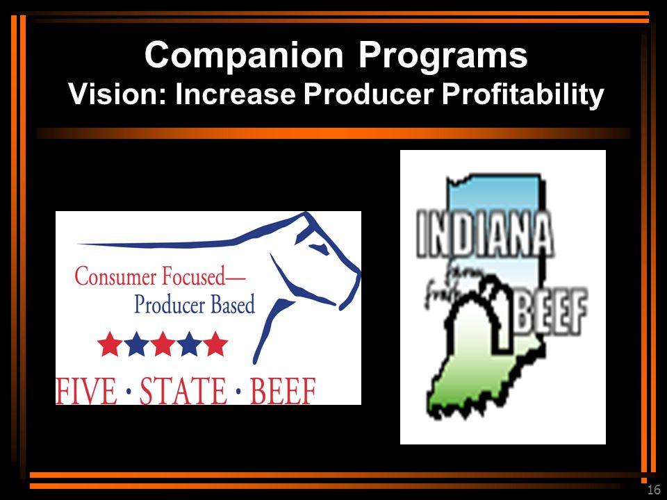 16 Companion Programs Vision: Increase Producer Profitability