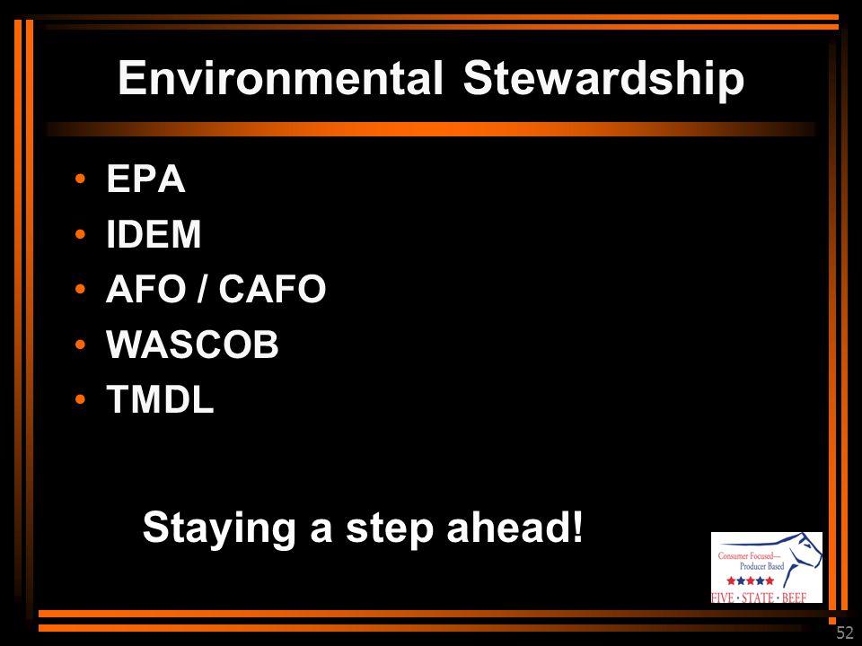 52 Staying a step ahead! EPA IDEM AFO / CAFO WASCOB TMDL Environmental Stewardship