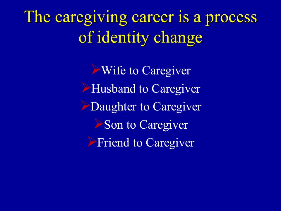 The caregiving career is a process of identity change  Wife to Caregiver  Husband to Caregiver  Daughter to Caregiver  Son to Caregiver  Friend to Caregiver