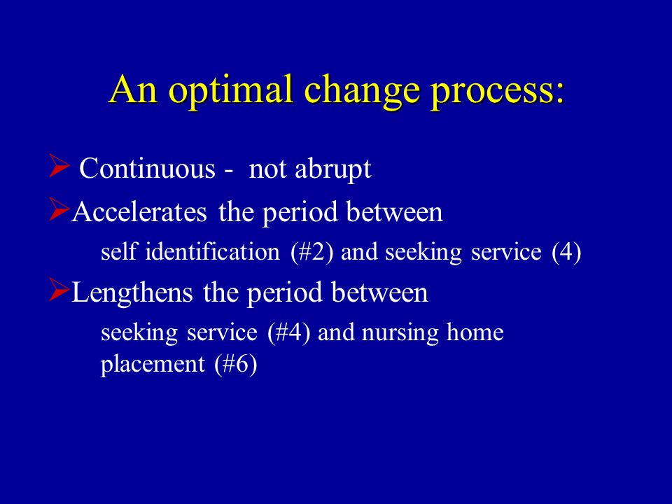 An optimal change process:  Continuous - not abrupt  Accelerates the period between self identification (#2) and seeking service (4)  Lengthens the period between seeking service (#4) and nursing home placement (#6)