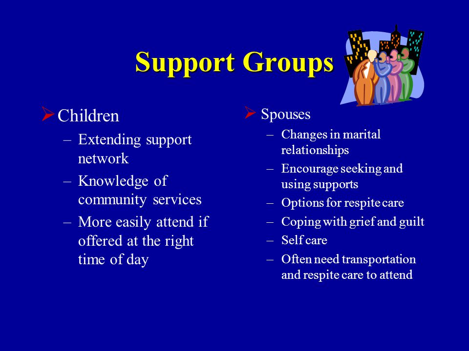 Support Groups  Children –Extending support network –Knowledge of community services –More easily attend if offered at the right time of day  Spouses –Changes in marital relationships –Encourage seeking and using supports –Options for respite care –Coping with grief and guilt –Self care –Often need transportation and respite care to attend