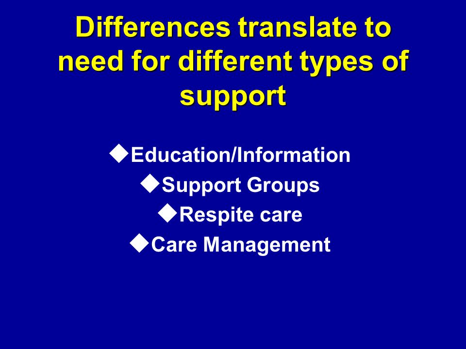 Differences translate to need for different types of support u Education/Information u Support Groups u Respite care u Care Management