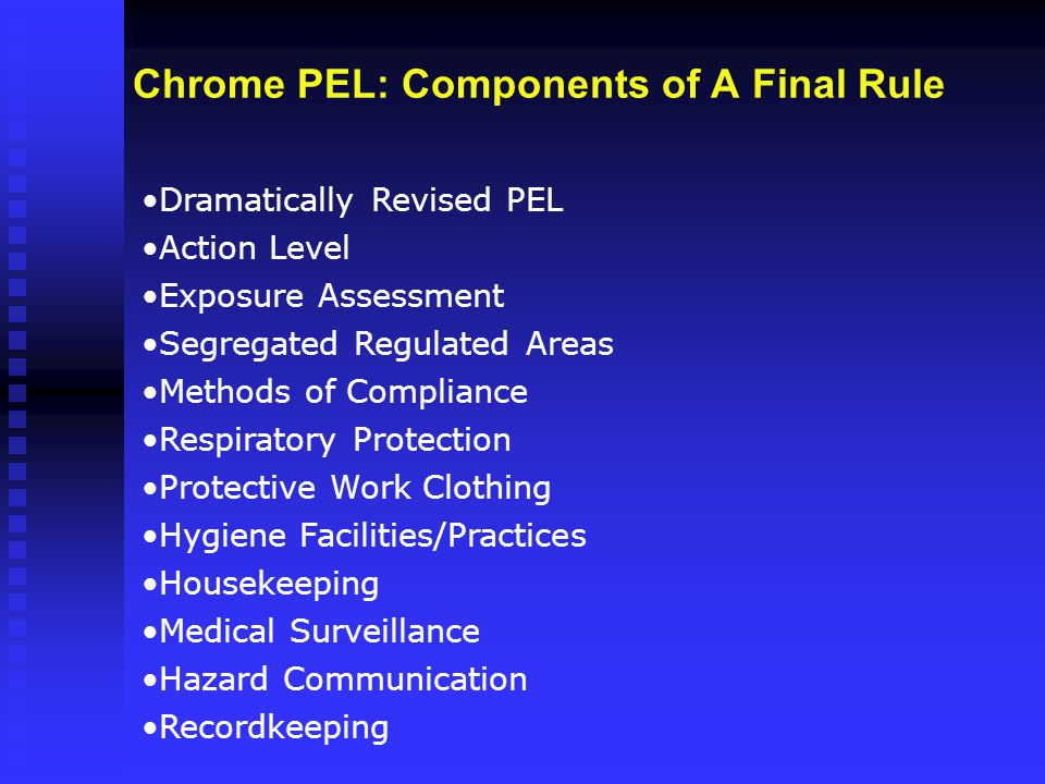 Chrome PEL: Components of A Final Rule Dramatically Revised PEL Action Level Exposure Assessment Segregated Regulated Areas Methods of Compliance Resp