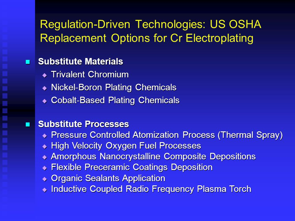 Regulation-Driven Technologies: US OSHA Replacement Options for Cr Electroplating Substitute Materials Substitute Materials  Trivalent Chromium  Nic