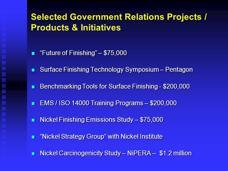 "Selected Government Relations Projects / Products & Initiatives ""Future of Finishing"" – $75,000 ""Future of Finishing"" – $75,000 Surface Finishing Tech"