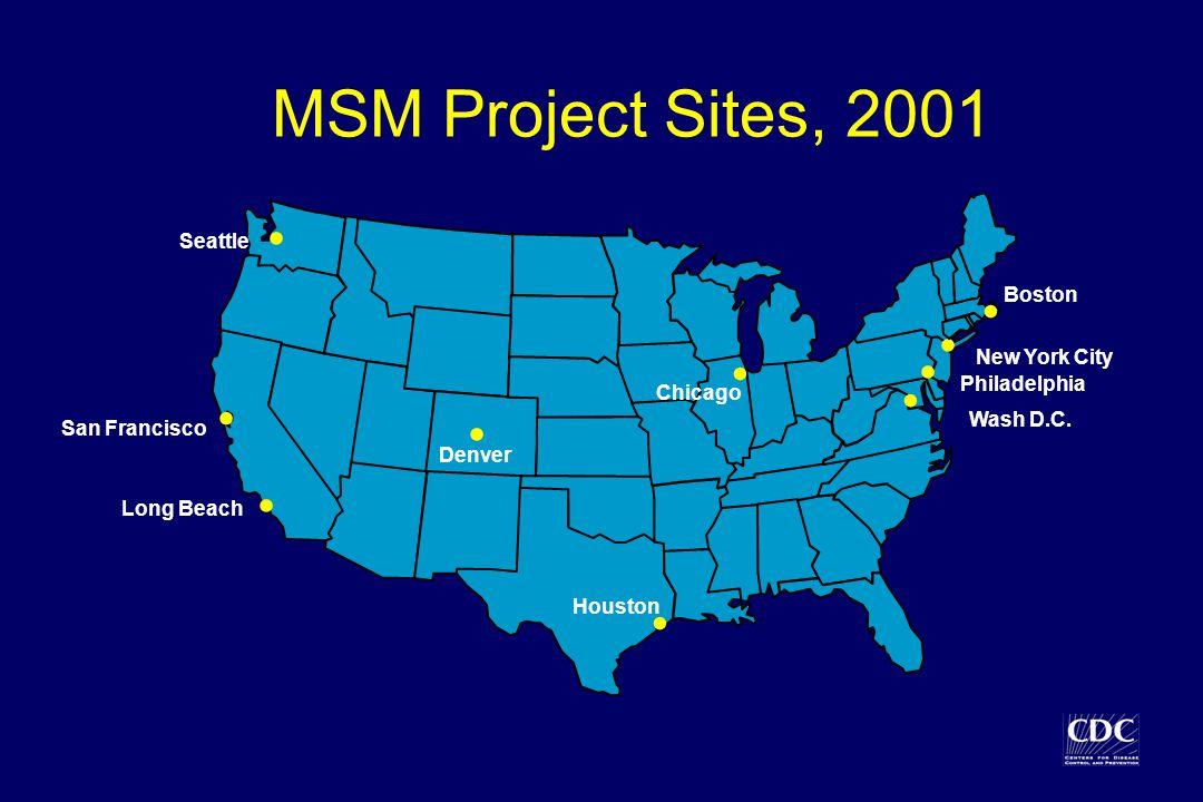 . MSM Project Sites, 2001 Long Beach Seattle New York City San Francisco Boston Houston Wash D.C. Denver Chicago Philadelphia.........