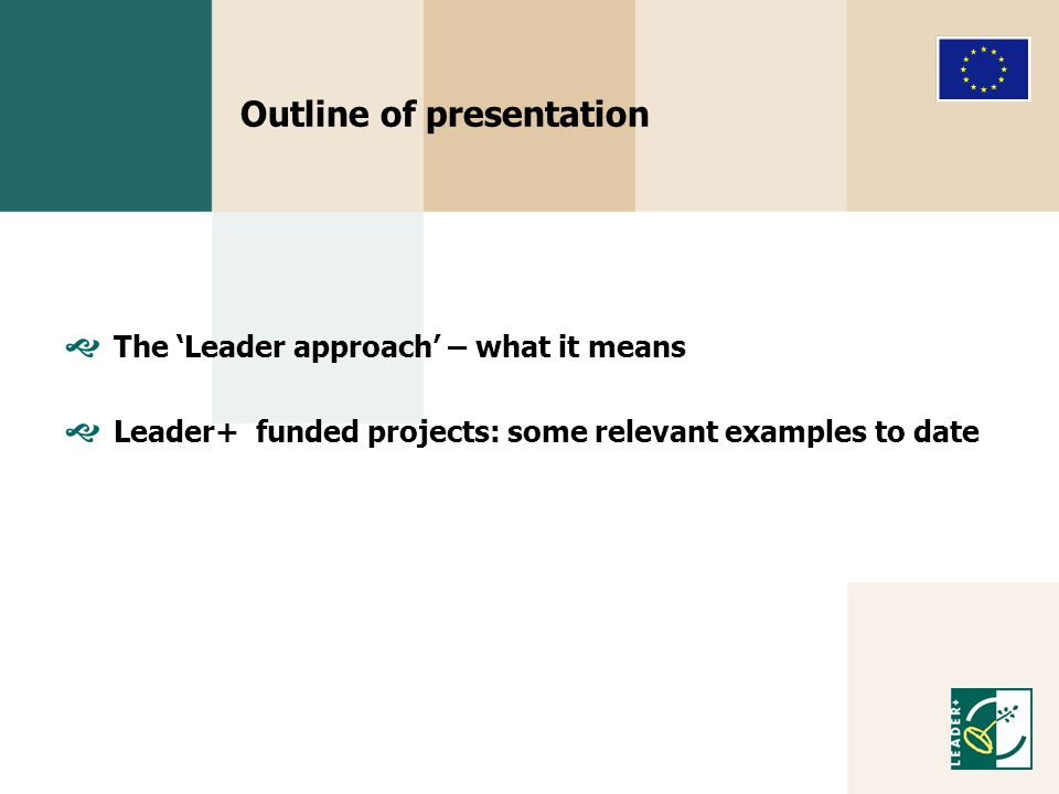 Outline of presentation  The 'Leader approach' – what it means  Leader+ funded projects: some relevant examples to date