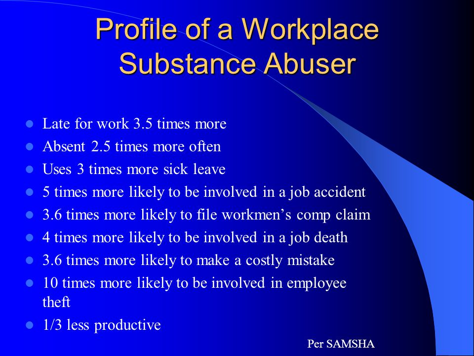 Behavioral Indicators Strained relations on the job Frequent financial problems Avoidance of friends and colleagues Blaming others for own problems Complaints about problems at home Deterioration in personal appearance Complaints and excuses of vaguely defined illnesses