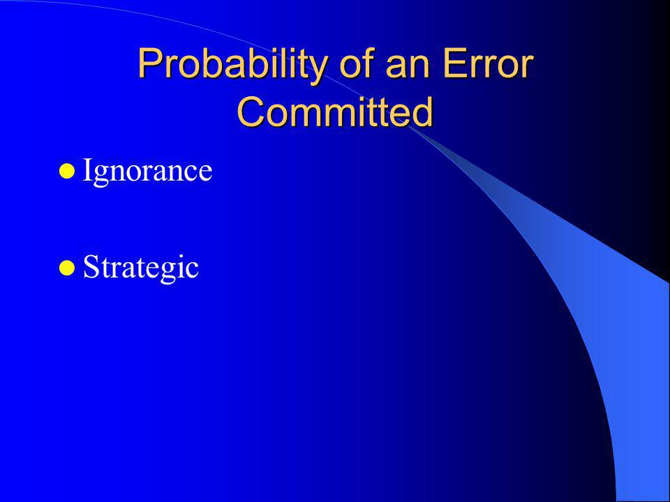 Probability of an Error Committed Ignorance Strategic