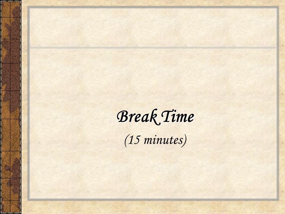 Break Time (15 minutes)