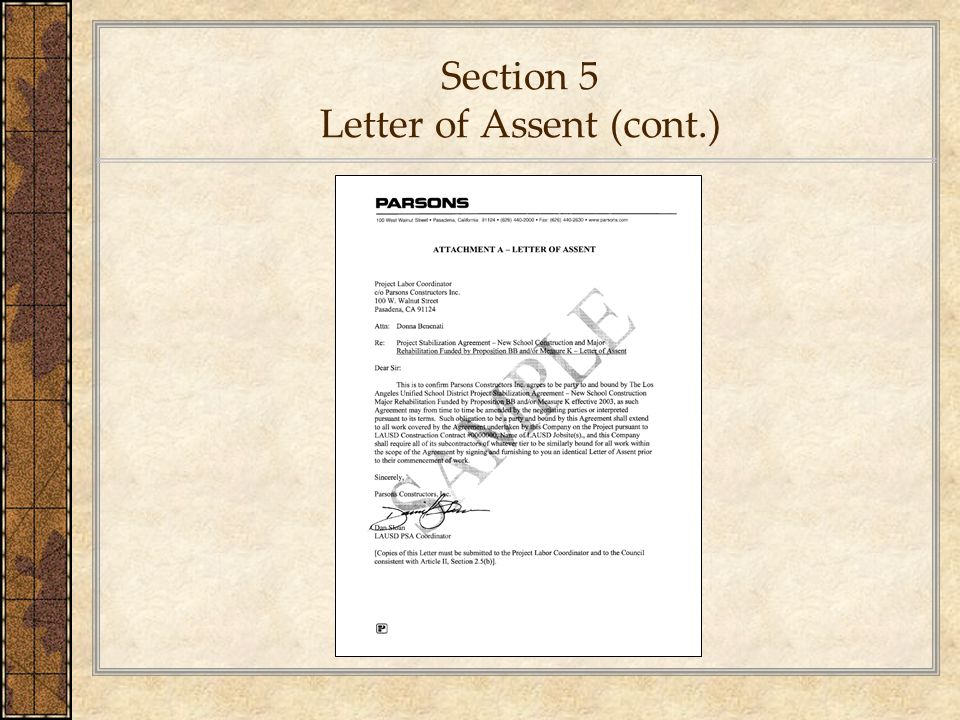 Section 5 Letter of Assent (cont.)