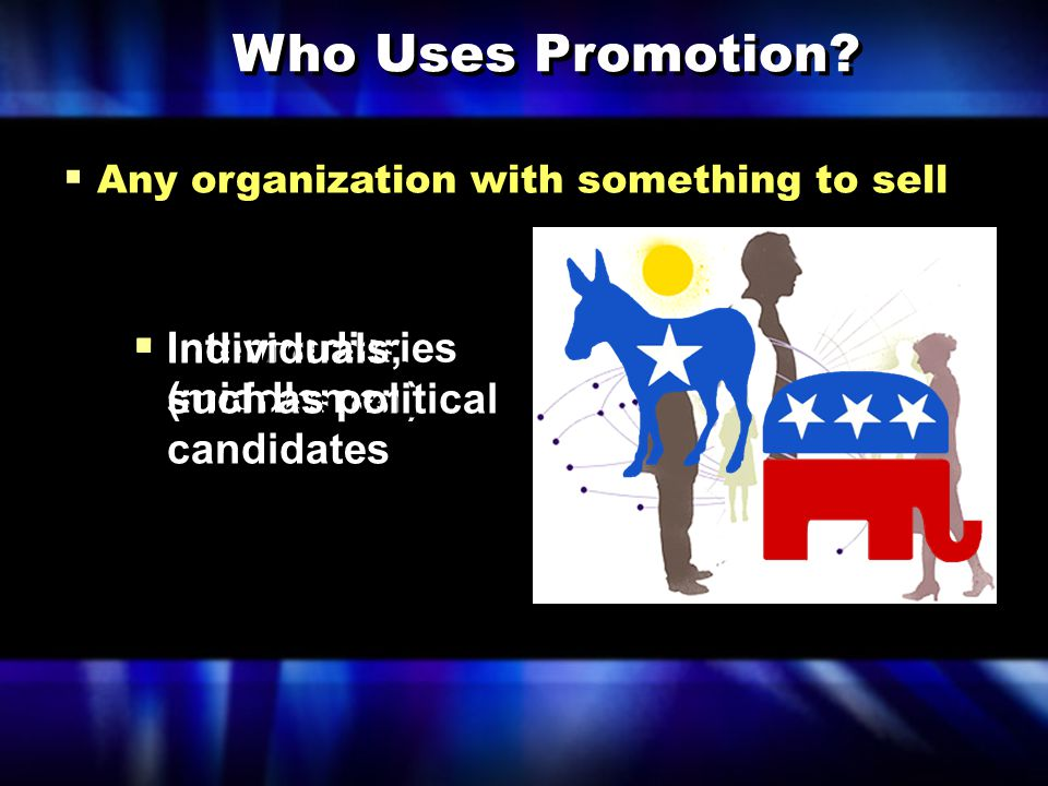  Any organization with something to sell Who Uses Promotion.