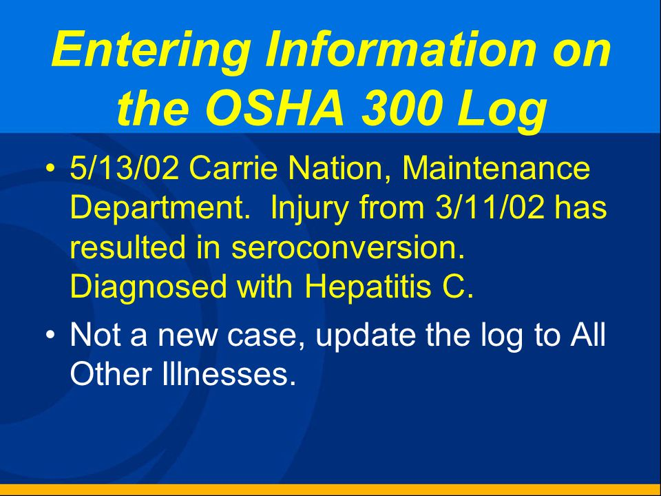 Entering Information on the OSHA 300 Log 4/24/02 Bob Glapsey, Lead Trainer, Training department, was on a business trip to New Orleans and had complet
