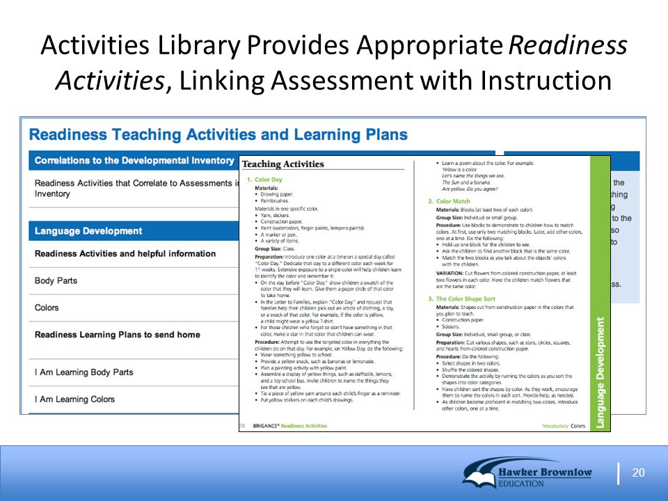 20 Activities Library Provides Appropriate Readiness Activities, Linking Assessment with Instruction
