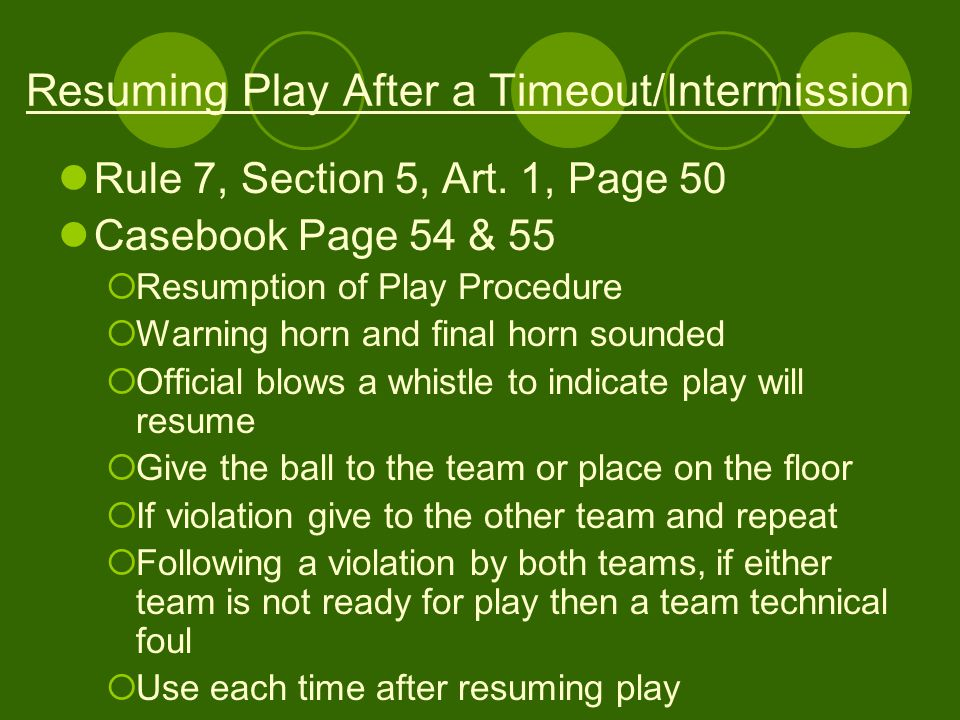 Resuming Play After a Timeout/Intermission Rule 7, Section 5, Art.