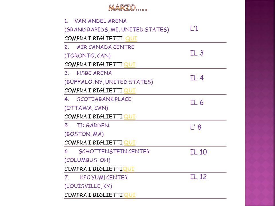 1. VAN ANDEL ARENA (GRAND RAPIDS, MI, UNITED STATES) COMPRA I BIGLIETTI QUIQUI 2. AIR CANADA CENTRE (TORONTO, CAN) COMPRA I BIGLIETTI QUIQUI 3. HSBC A