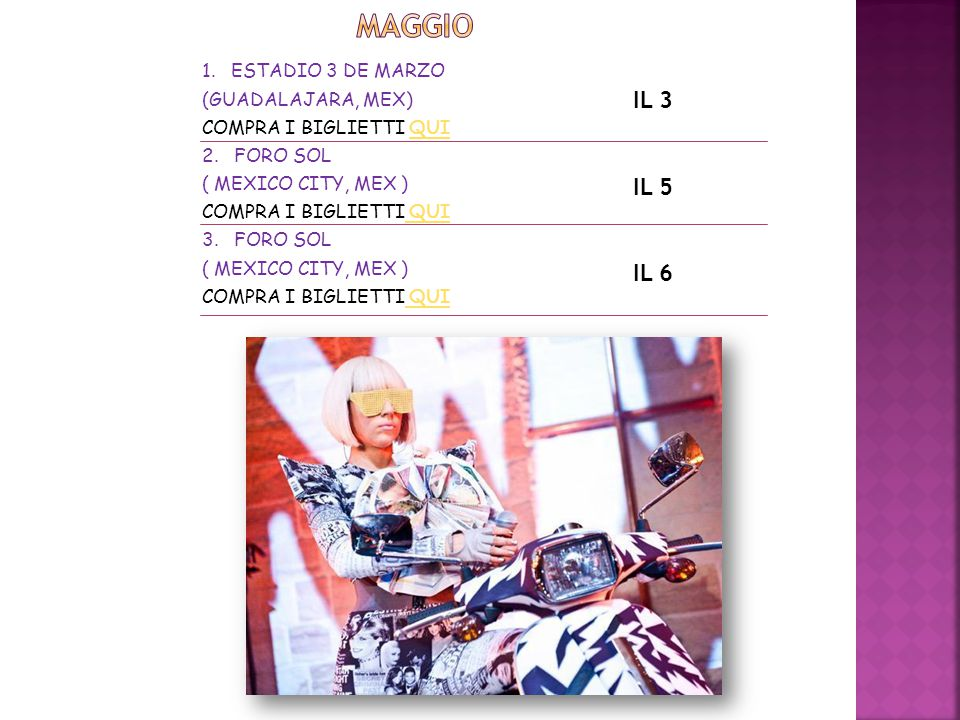 1. ESTADIO 3 DE MARZO (GUADALAJARA, MEX) COMPRA I BIGLIETTI QUIQUI 2. FORO SOL ( MEXICO CITY, MEX ) COMPRA I BIGLIETTI QUI QUI 3. FORO SOL ( MEXICO CI