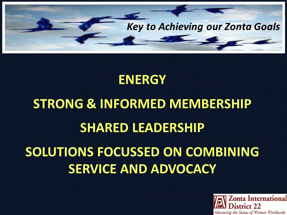 ENERGY STRONG & INFORMED MEMBERSHIP SHARED LEADERSHIP SOLUTIONS FOCUSSED ON COMBINING SERVICE AND ADVOCACY Key to Achieving our Zonta Goals