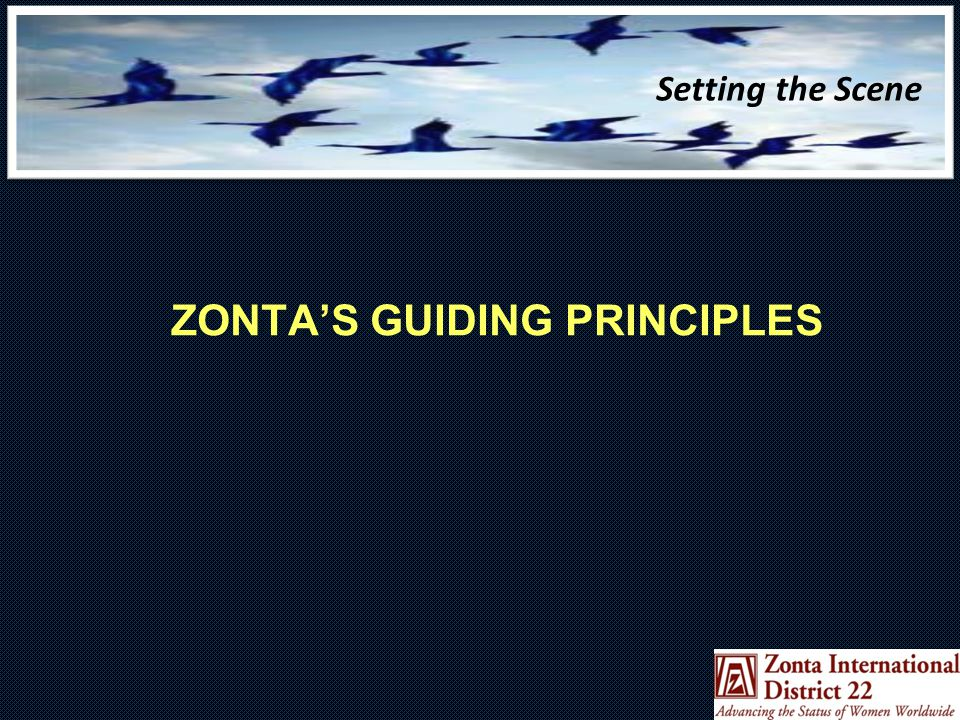 Setting the Scene ZONTA'S GUIDING PRINCIPLES