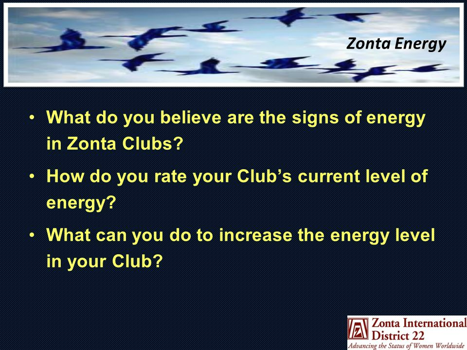 Zonta Energy What do you believe are the signs of energy in Zonta Clubs.