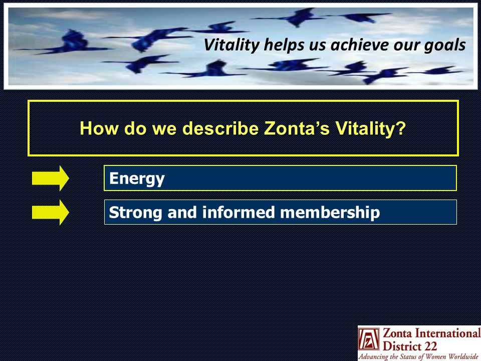 Strong and Informed Membership How do you ensure your membership is educated and informed about their organization and what it means to be an active Zontian in the community.