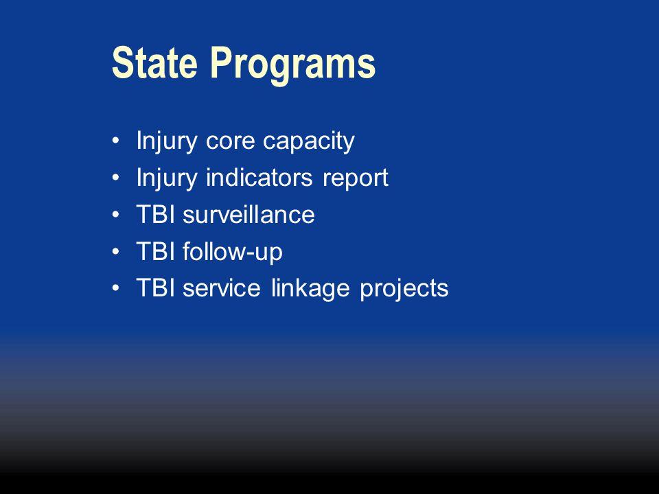Injury core capacity Injury indicators report TBI surveillance TBI follow-up TBI service linkage projects