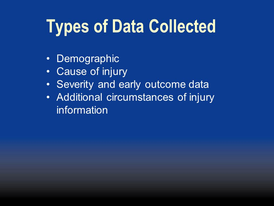 Types of Data Collected Demographic Cause of injury Severity and early outcome data Additional circumstances of injury information