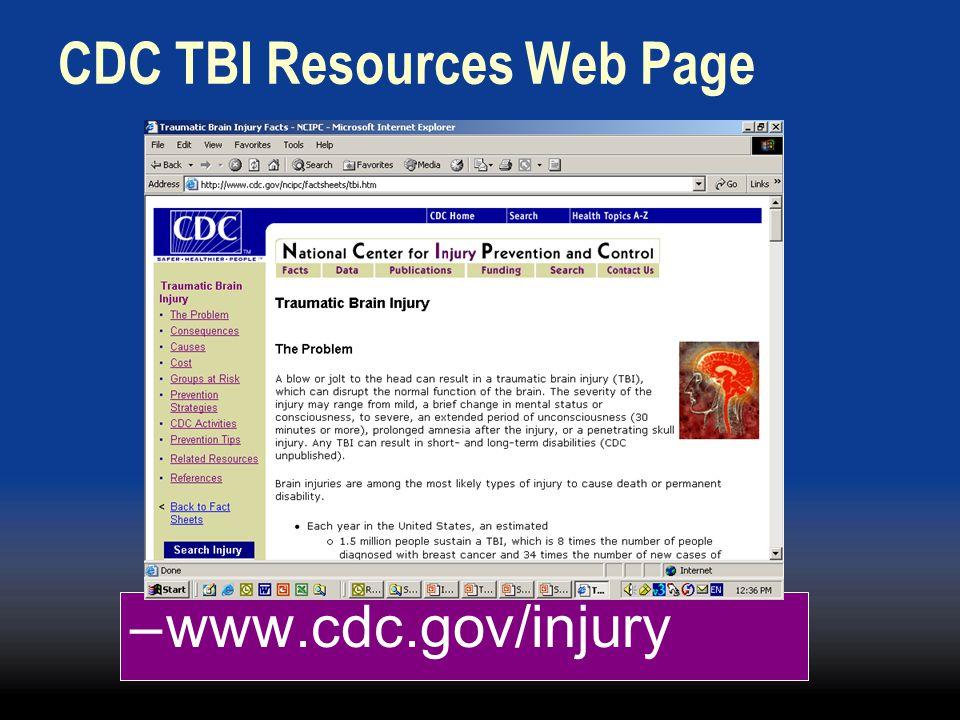 CDC TBI Resources Web Page –www.cdc.gov/injury