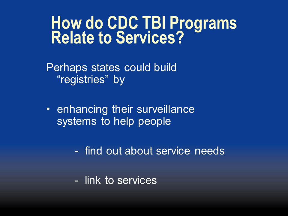 How do CDC TBI Programs Relate to Services.