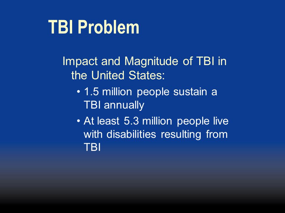 TBI Problem Impact and Magnitude of TBI in the United States: 1.5 million people sustain a TBI annually At least 5.3 million people live with disabilities resulting from TBI
