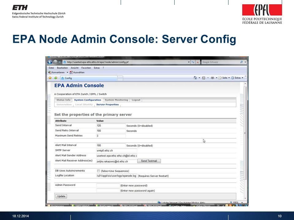 EPA Node Admin Console: Server Config 18.12.201410