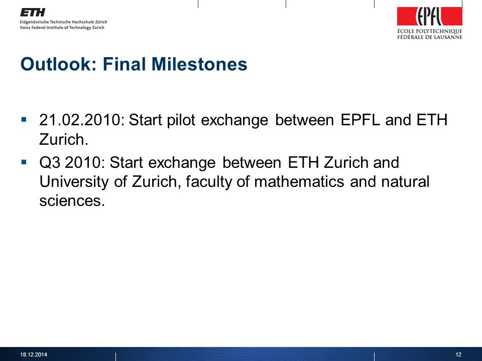 Outlook: Final Milestones  21.02.2010: Start pilot exchange between EPFL and ETH Zurich.  Q3 2010: Start exchange between ETH Zurich and University
