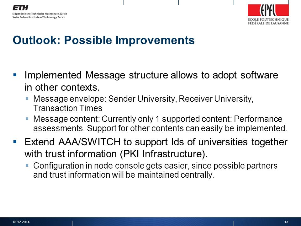 Outlook: Possible Improvements  Implemented Message structure allows to adopt software in other contexts.  Message envelope: Sender University, Rece