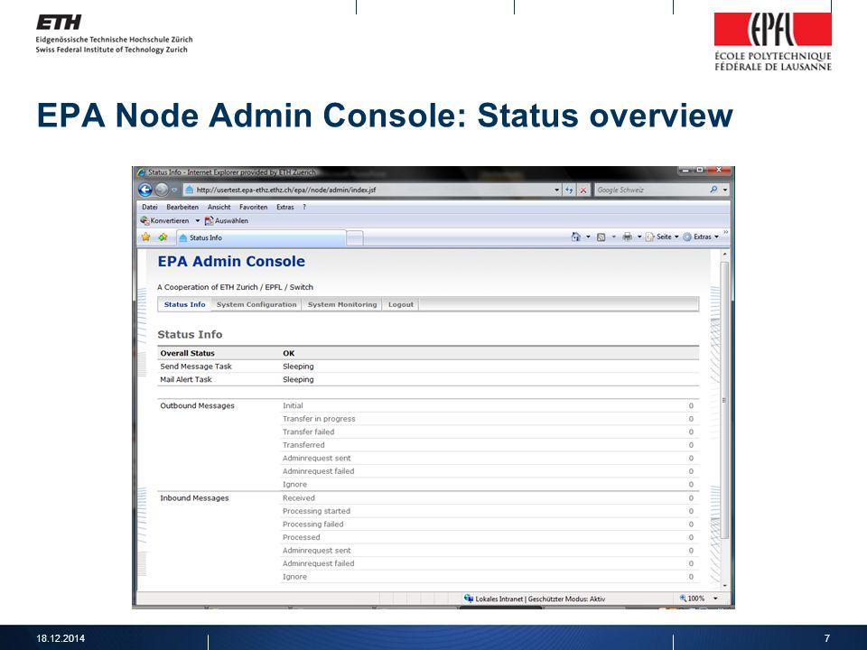 EPA Node Admin Console: Status overview 18.12.20147