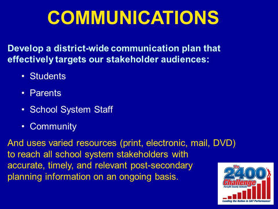 COMMUNICATIONS Develop a district-wide communication plan that effectively targets our stakeholder audiences: Students Parents School System Staff Com